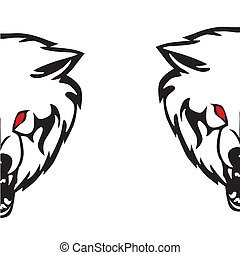 Head of a wolf.Vector illustration - Head of a wolf on a...