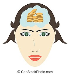 Head of a woman thinking about money