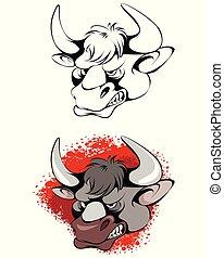 Head of aggressive bull