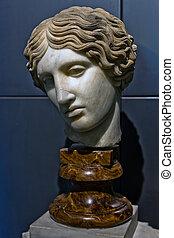 Head of an Amazon. Greek marble.