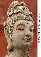 head of an antique asian beauty - ancient statue detail, Beijing