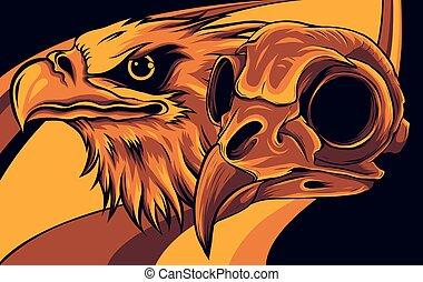 Head of an Eagle and skull vector illustration