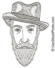 Head of an elderly man with a beard Coloring book vector for adults