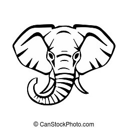 head of an elephant, black lines, vector