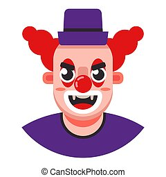 head of an evil clown in a hat.