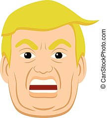 Vector illustration of angry Donal Trump face.