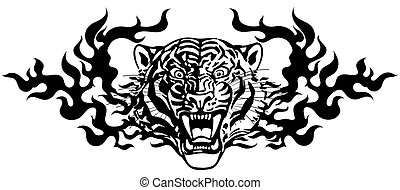 Head of Angry tiger in tongues of flame black white