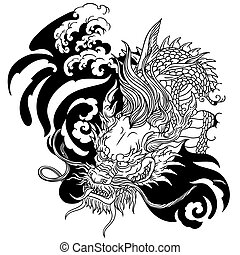 head of Asian dragon. Black and white