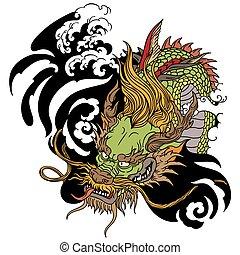 head of Asian dragon tattoo