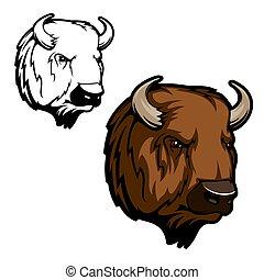 Head of bison, buffalo or wild ox bull animal