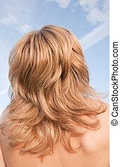 Head of blonde  girl