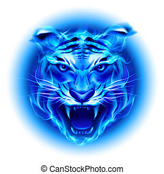 Head of blue fire tiger. - Head of fire tiger in blue. ...