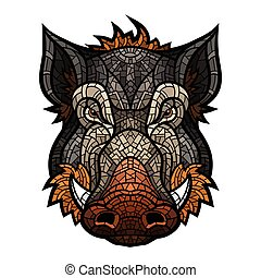 Head of boar mascot color in mosaic style. This is isolated ...