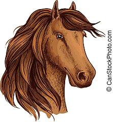 Head of brown horse foal or stud vector sketch