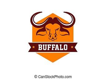 Head of Bull, buffalo, logo and symbol
