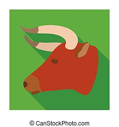 Head of bull icon in flat style isolated on white background. Rodeo symbol stock vector illustration.