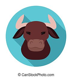 Head of bull icon in flat style isolated on white background. Spain country symbol stock vector illustration.