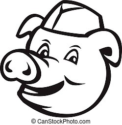 Head of Butcher Pig Wearing Hat Smiling Cartoon Black and White
