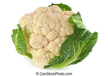 Head of cauliflower on white