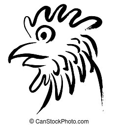 Head of chicken hand drawn