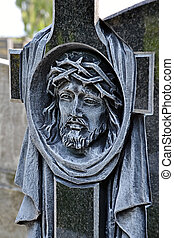 Head of Christ carved in the cross