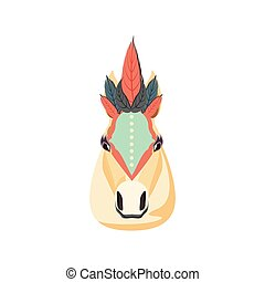 head of circus horse isolated icon