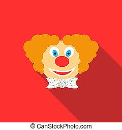 Head of clown icon, flat style