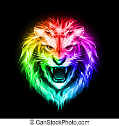 Head of colorful fire lion - Head of aggressive fire lion in...