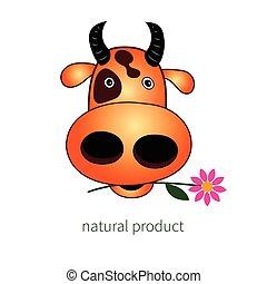 Head of cow  Hand drawn, sketch, cartoon illustration of cow