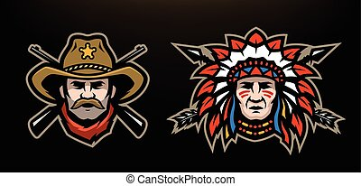 Head of cowboy and Indian on a dark background.
