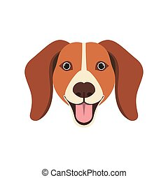 head of cute beagle dog on white background
