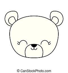 head of cute bear animal isolated icon