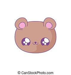 head of cute bear baby animal kawaii style