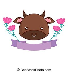head of cute bull with ribbon and flowers