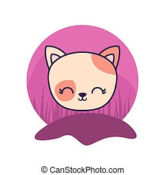 head of cute cat animal isolated icon
