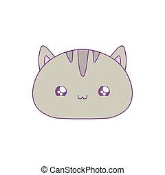 head of cute cat baby animal kawaii style