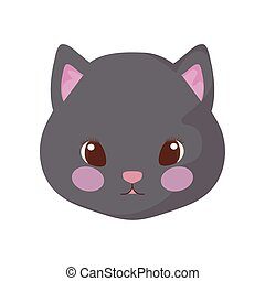head of cute cat on white background