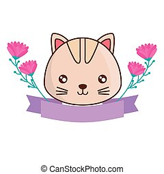 head of cute cat with ribbon and flowers