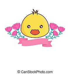 head of cute chicken with ribbon and flowers