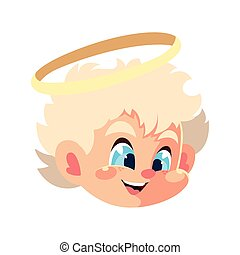 head of cute cupid angel on white background