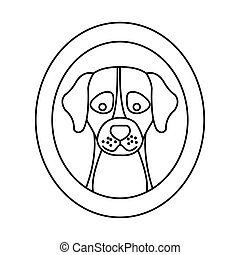 head of cute dog in frame circular isolated icon