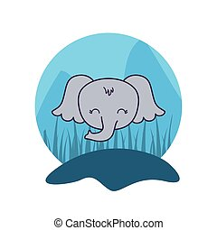 head of cute elephant animal isolated icon