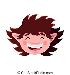 head of cute elf on white background