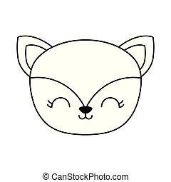 head of cute fox animal isolated icon