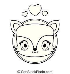 head of cute fox baby kawaii style