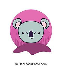 head of cute koala animal isolated icon