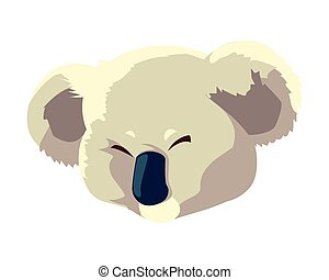 head of cute koala on white background