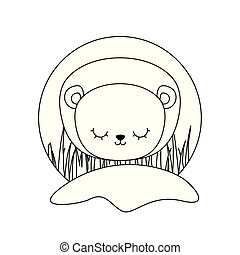 head of cute lion animal isolated icon