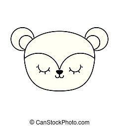 head of cute monkey animal isolated icon