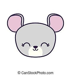 head of cute mouse animal isolated icon